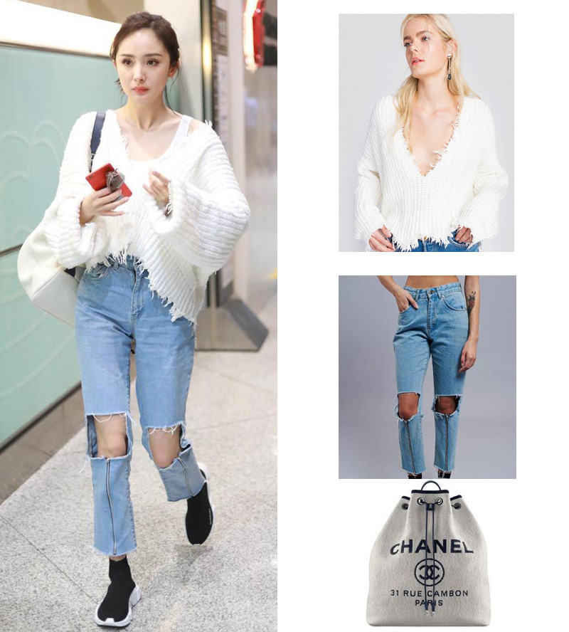 áo len hở vai phối quần jean