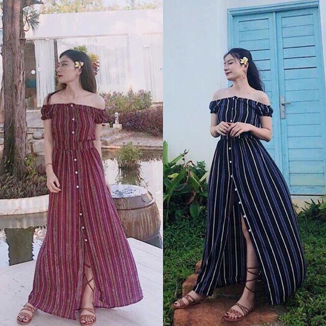 váy maxi trễ vai