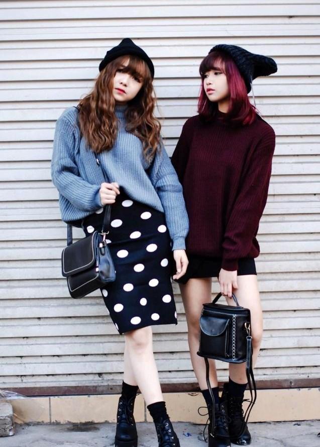 áo len dáng dài phối chân váy ôm